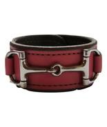 Equestrian Horse Bit Leather Wide Cuff Bracelet Silver Hardware, PINK - £44.08 GBP