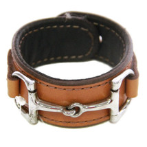 Equestrian Horse Bit Leather Wide Cuff Bracelet Silver Hardware, CAMEL - £44.54 GBP