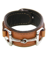 Equestrian Horse Bit Leather Wide Cuff Bracelet Silver Hardware, CAMEL - £44.08 GBP