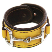 Equestrian Horse Bit Leather Wide Cuff Bracelet Silver Hardware, YELLOW - $59.37