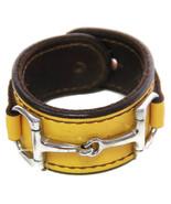 Equestrian Horse Bit Leather Wide Cuff Bracelet Silver Hardware, YELLOW - £44.08 GBP
