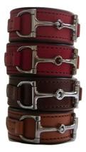 Equestrian Horse Bit Leather Wide Cuff Bracelet Silver Hardware, BLACK - £44.54 GBP