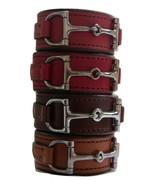 Equestrian Horse Bit Leather Wide Cuff Bracelet Silver Hardware, BLACK - £44.08 GBP