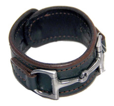 Equestrian Horse Bit Leather Wide Cuff Bracelet Silver Hardware, HUNTER GREEN - £44.54 GBP