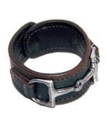 Equestrian Horse Bit Leather Wide Cuff Bracelet Silver Hardware, HUNTER ... - £44.08 GBP