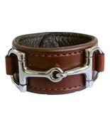 Equestrian Horse Bit Leather Wide Cuff Bracelet Silver Hardware, BROWN - £44.08 GBP
