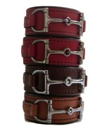 Equestrian Horse Bit Leather Wide Cuff Bracelet Silver Hardware, LIGHT B... - £44.08 GBP