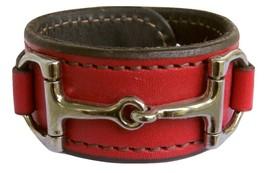 Equestrian Horse Bit Leather Wide Cuff Bracelet Silver Hardware, RED - £44.54 GBP