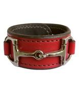Equestrian Horse Bit Leather Wide Cuff Bracelet Silver Hardware, RED - £44.08 GBP
