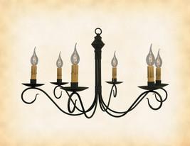 "Colonial Metal Primitive Chandelier ""Adams"" Handmade 6 Arm Candelabra Light Usa - $303.75"