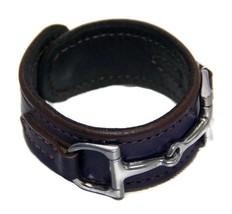 Equestrian Horse Bit Leather Wide Cuff Bracelet Silver Hardware, PURPLE - £44.54 GBP