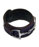 Equestrian Horse Bit Leather Wide Cuff Bracelet Silver Hardware, PURPLE - £44.08 GBP