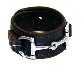 Equestrian Horse Bit Leather Wide Cuff Bracelet Silver Hardware, BLUE - £44.54 GBP