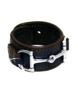 Equestrian Horse Bit Leather Wide Cuff Bracelet Silver Hardware, BLUE - £44.08 GBP