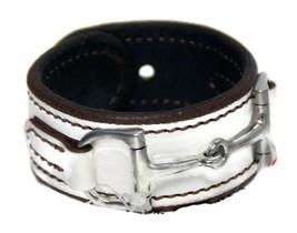 Equestrian Horse Bit Leather Wide Cuff Bracelet Silver Hardware, WHITE - £44.54 GBP