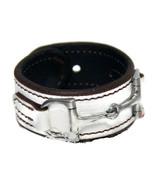 Equestrian Horse Bit Leather Wide Cuff Bracelet Silver Hardware, WHITE - £44.08 GBP