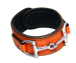 Equestrian Horse Bit Leather Wide Cuff Bracelet Silver Hardware, ORANGE - £44.54 GBP