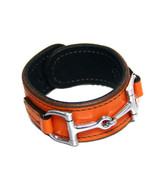 Equestrian Horse Bit Leather Wide Cuff Bracelet Silver Hardware, ORANGE - £44.08 GBP
