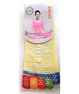 Womens Yellow Anti-slip Yoga Exercise Toe Socks Cotton Athletic Low Cut OSFM - $3.99