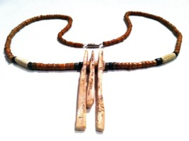 Primitive Jewel Necklace Animal Genuine Bone Beads Handmade Jewelry - $148.50