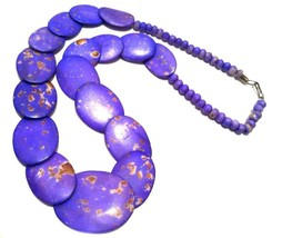 Purple Bone Beaded Necklace Ethnic Handmade Vintage Jewelry - $74.25