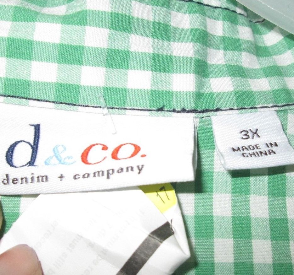 plus size denim & co green white twee gingham plaid jacket 3x extra large 22 24