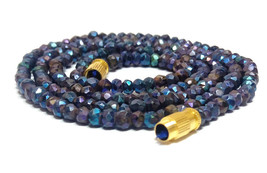 """Coated mystic black spinel 3-4mm rondelle faceted beads 16"""" beaded long necklace - $11.42"""
