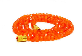 "Natural Dark Carnelian 3-4mm rondelle faceted beads 16"" beaded Choker necklace - $12.79"