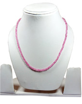 "Pink Coated Crystal 3-4mm rondelle faceted beads 16"" beaded long Choker necklace - $12.79"