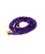 """Natural amethyst 3-4mm rondelle faceted beads 16"""" beaded Choker Collar n... - $13.07"""