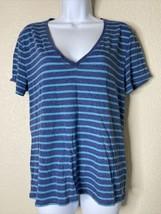 Victoria's Secret Womens Size M Blue Striped T-Shirt Short Sleeve Deep V... - $15.84