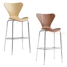 ARNE JACOBSEN SERIES 7 STYLE BAR STOOL MOLDED PLYWOOD WALNUT NATURAL - $114.99