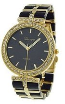 Women's Decorative Chronograph Czech Rhinestone Link Watch-BLACK/GOLD - $34.99
