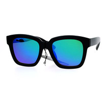 Classic Black Square Sunglasses Color Mirror Lens Stylish Chic Frame - $10.95
