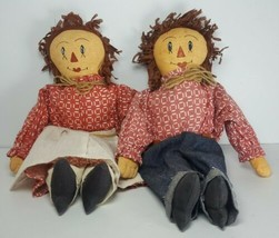 """Vintage 12"""" Raggedy Ann and Andy Hand Made Dolls Painted Faces Unique  - $43.00"""