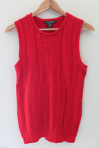 NWT LAUREN Ralph Lauren Red Linen Cotton Knit Sleeveless Sweater Vest M $100 image 1