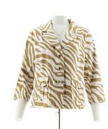 Joan Rivers Fashionable Rangers Zebra Print Jacket Khaki White M NEW A23... - $42.55
