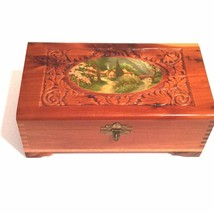 Vintage Cedar Box with Decoupage Village and River Scene - $33.66