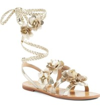 Tory Burch Blossom Gladiator Sandals Gold Floral Shoes Flats Flip Flop 6... - $166.00