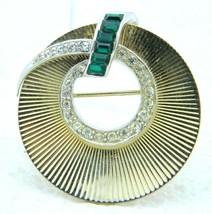 VTG Dual Tone Clear Green Rhinestone Wreath Art Deco Style Pin Brooch - $49.50