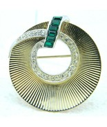 VTG Dual Tone Clear Green Rhinestone Wreath Art Deco Style Pin Brooch - $49.50