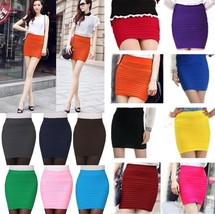 Mini High Waist Pleated Elastic Short Dress Pencil Bodycon Slim Skirt Seamless T