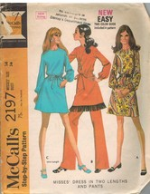 2197 Vintage McCalls Sewing Pattern Misses Dress Two Lengths Pants Step by Step - $7.91