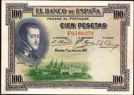 Spain 1925 , 100 Pesetas , Banknote VF - $7.12