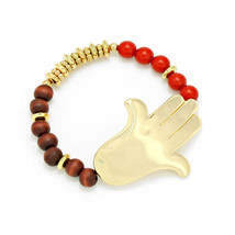 Gold Hamsa Hand Red &  Brown Wood Bead Stretch ... - $16.00