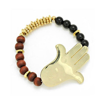 Gold Hamsa Hand Black & Brown Wood Bead Stretch... - $16.00