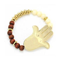 Gold Hamsa Hand Ivory &  Brown Wood Bead Stretc... - $16.00