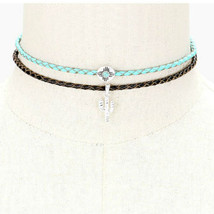Choker Necklace Turquoise & Silver Cactus Pendant Charm Braided Leather ... - $162,54 MXN