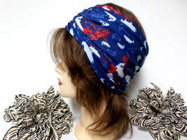 Navy Blue, Red, & White Chemo Scarf Headband, Wide Headband, Headwrap, C... - €15,85 EUR