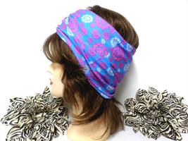 Light Blue, Pink & White Chemo Scarf Headband, Wide Headband, Headwrap, ... - €15,85 EUR